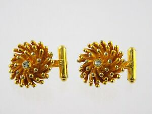 Vintage Christian Dior Cufflinks Gold Tone White Rhinestone French Floral Motif