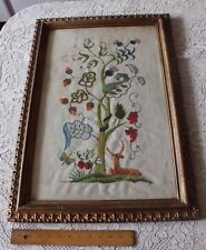 Vintage American Large Hand Embroidered Jacobean Crewel Work In Gilded Frame