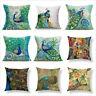 Peacock Print Cotton Linen Decorative Pillow Case Sofa Cushion Cover Home Decor