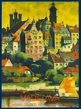 Warsaw Warszawa Poland Europe Polish Vintage Travel Advertisement Art Poster