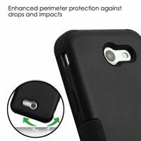 For Samsung GALAXY J3 Emerge Luna Pro Hybrid Shockproof Hard Case Cover BLACK
