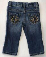 Guess Baby Girls 6-9 Months Gold Logo Pocket Denim Jeans with Adjustable Waist