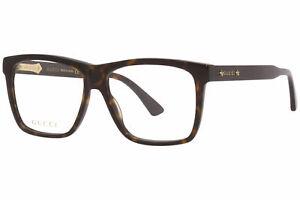 Gucci GG0268O 002 Eyeglasses Men's Havana Full Rim Square Optical Frame 55mm