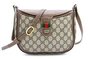 【Rank BC】Auth Gucci GG Pattern Sherry Line Crossbody Shoulder Bag Vintage Italy
