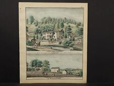 Pennsylvania Beaver County Map Sheepfold Pasturage Engravings 1876 Q4#75