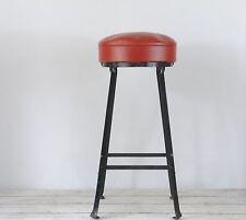Vintage Industrial Stool Steel Stool Lab Stool Metal With Vinyl Seat Shop Stool