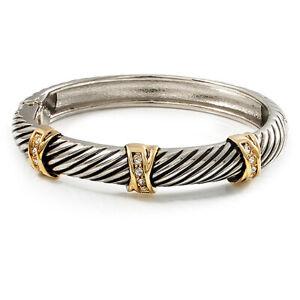 'Criss Cross' Two-Tone Hinged Bangle Bracelet