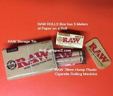 Raw Organic Hemp Rolls 5 meter box Rolling Paper+Storage Tin+Hemp Plastic Roller