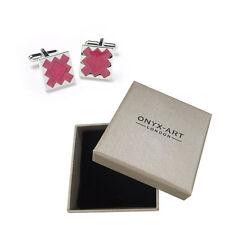 Mens Pink Maze Design Fashion Cufflinks & Gift Box By Onyx Art