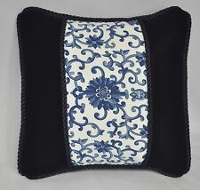 Accent Pillow made w Ralph Lauren Porcelain Rosette & Navy Blue Velvet Fabric