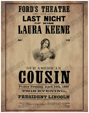 FORD'S THEATER POSTER Apr 14 1865 Our American Cousin Lincoln Assassination RP