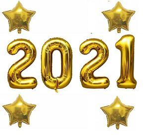 40 Inch Gold 2021 Number Foil Balloon New Year Eve Graduation Party Decor Star