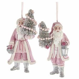 Set/2 Kurt Adler Pink Santa Christmas Bottlebrush Tree Ornament Retro Vntg Decor