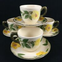 Set of 4 VTG Cups and Saucers by Franciscan Meadow Rose Yellow Floral USA