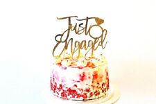 Just Engaged Gold Glitter Card Cake Topper, Engagement, Married, Anniversary