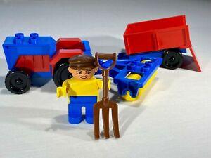 Vintage 1980 Lego Duplo Set 2629 Tractor & Farm Machinery figure Plough & Trough
