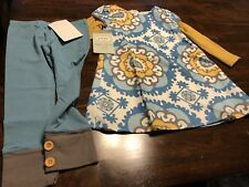 NEW Persnickety Gold And blue Floral Print Dress And Blue Leggings Size 3 Set