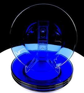 "LIBBEY GLASS MODERNO MEDITERRANEAN BLUE PLAIN 4 PIECE 7 1/2"" SALAD PLATES 2006"
