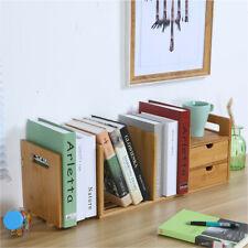 2-Drawer Natural Bamboo Wood Desk Organizer Storage Bookshelf Desktop Organizer