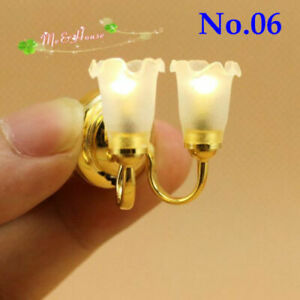 1:12 Scale Dollhouse Accessories Beautiful Miniatures Sconce Wall Lamp LED Light