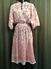 Vtg. Lightweight Knit Teacher PINK Floral DRESS Church Women's Size 11