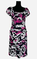 Suzi Chin For Maggy Boutique ~ Size 12 ~ Gorgeous Navy Pink White Fitted Dress