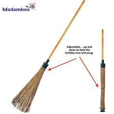 MadamBee - Strong Natural Fiber - Self-Standing - Compact - Outdoor Garden Broom