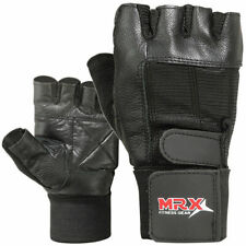 Weight Lifting Gym Gloves Fitness Training Workout Leather Exercise Black MRX