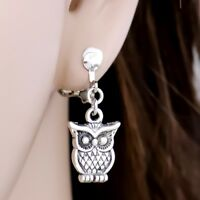 "#E122O Pair Women CLIP ON non-pierced Earrings Retro 0.5"" MINI Owl 3D Drop New"