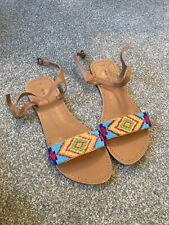 New Look Tan Beaded Summer Sandals Size 7