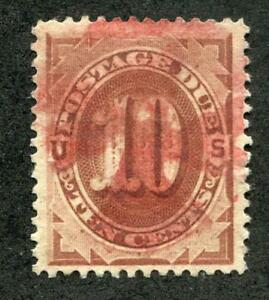 UNITED STATES J5 USED 10c BROWN, VF RED CANCEL