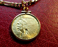 """Gold Plated 1929 Indian Chief + Eagle Pendant and 24"""" Gold Filled Chain"""