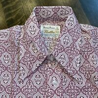 NEW Vtg 60s 70s FLEETLINE Disco Dress Shirt BURGUNDY Perma Press MENS SMALL NOS