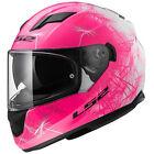 LS2 casque moto intégral FF320.25 WIND femme blanc rose fluo brillant