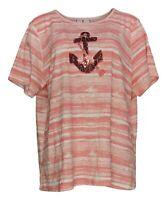 Quacker Factory Women's Top Sz XL Watercolor Printed Pink A374579