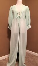 Vintage sheer chiffon robe mint green open front robe micro pleated sleeve Large