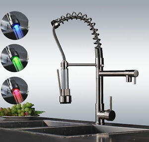 LED Brushed Nickel Pull Down Kitchen Sink Faucet Spring Swivel Spout Mixer Tap