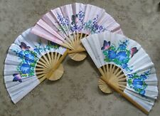 Large Rice Paper + Bamboo Fans Hand Painted Wall Decor Butterflies Flowers Sweet