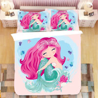 Cute Mermaid Girl Coral Rainbow Adult Kids Bedding Duvet Quilt Cover Set Gift