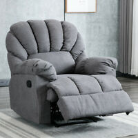 Recliner Chair Wide Backrest Seat Manual Sofa Extra Comfy Fabric Armchair Lounge