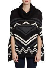 $278 NWT BCBG MAX AZRIA Sian Zigzag Poncho Black White Thick One size *O/S