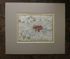 c1845 Environs London Moule Barclay Virtue Wandsworth Iron Railway Antique Map