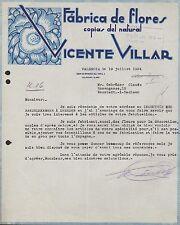 Valencia, cartas 2 1934, fabrica de flores del copias natural, Vicente Villar