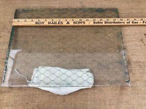 "Vintage Chicken Wire Safety Glass 12"" x 15"" 1/4"" thickness."