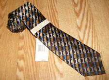 NWT New Mens MICHAEL KORS Geometric Woven Circles Silk Tie Brown Gold Blue Gray