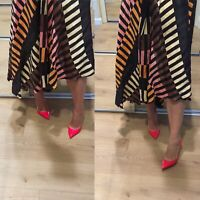 $800 AUTHENTIC christian louboutin pigalle follies 100 PUMPS HEELS Poppy 37.5
