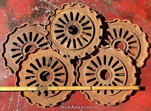 5 FARMHOUSE SPROCKET DECOR Vtg Antique Cast Iron Industrial Metal Gear Wheel Cog
