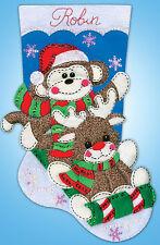 Felt Embroidery Kit ~ Design Works Sock Monkey Christmas Stocking #DW5241