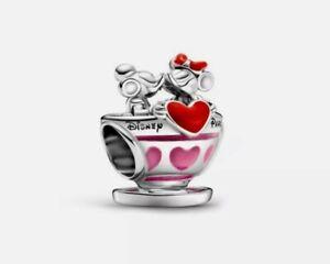 Silver Mickey & Minnie Mouse Teacups European Spacer Charm Bead!!