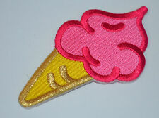 PINK ICE CREAM CONE STRAWBERRY  Embroidered Sew Iron On Cloth Patch Badge CORNET